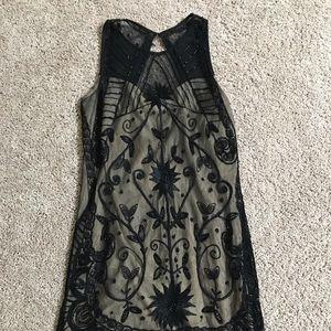 A&F Black Sparkle Mini Dress W Cream Liner Size XS